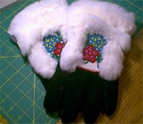 Native beading on gloves and clothing